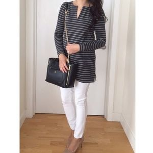 NWT Ann Taylor LOFT Striped Split Neck Knit Tunic